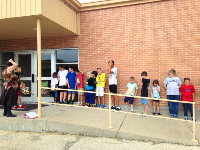 Oak Creek students getting ready to enter their new school.